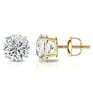 IGI Certified 14k Yellow Gold Round Diamond Stud Earrings 4-Prong Basket-Screw Backs (2 cttw, J-K, I1-I2)