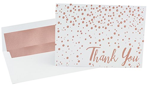 (Thank You Cards - 20 Pack of (A7) 5x7 Rose Gold Confetti Premium Heavyweight Cards and Rose Gold Foil Lined Envelopes - Large Enough To Include a 4x6 Photo Inside)