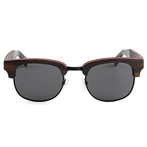 UV main de soleil Rimless la lunettes de lunettes soleil qualité à de haute lunettes Style soleil conduite de de femmes unisexe élégant en Semi bois rétro soleil plage protection polarisées Noir lunettes P q1A6w1