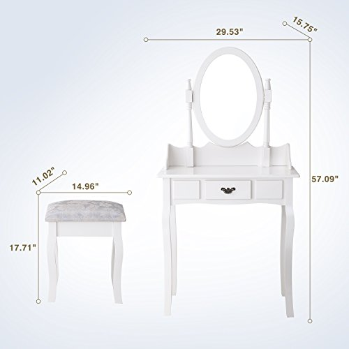 Mecor Vanity Makeup Table Set Dressing Table with Stool and Oval Mirror,White by Mecor (Image #6)'