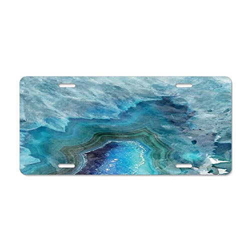 (Blue Watercolor Agate Geode Print License Plate, Aluminum Novelty License Plate Cover Vanity Gift, 6 L X 12 W Inches)