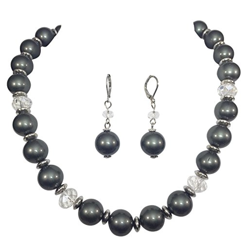 Single Strand Glass Beaded Imitation Pearl Necklace Dangle Earrings Set (Grey & Clear)
