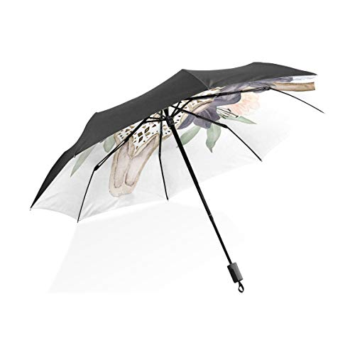 Bull Head Skull With Flowers Black Portable Lightweight Compact Folding Umbrella Anti Uv Protection Waterproof Sunny Windproof Rainproof Rib Outdoor Travel Women Men Child