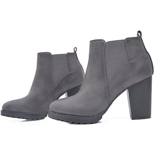 Kayla Shoes Boots Stiefeletten in Schwarz oder Grau mit Absatz und Profil Sohle Grau PU