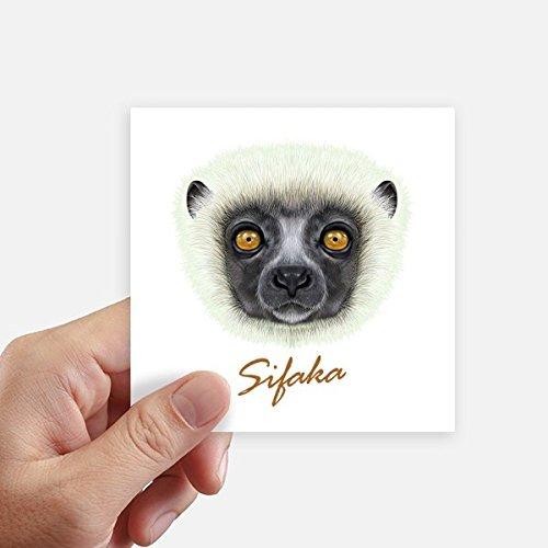 DIYthinker White Fluffy Sifaka Monkey Animal Square Stickers 10cm Wall Suitcase Laptop Motobike Decal 8pcs