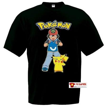 Camiseta Ash y Pikachu Pokemon,manga corta negra (Talla: 7-8 años): Amazon.es: Juguetes y juegos