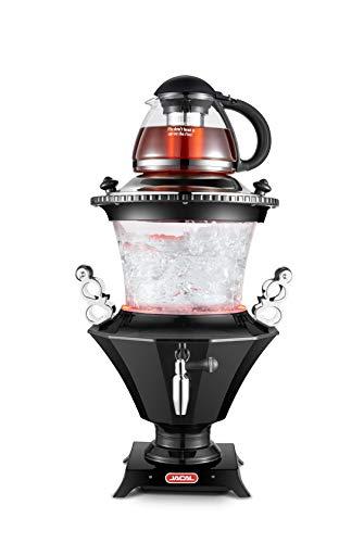 New 2019 Modern Electric Glass Samovar Tea Maker, Stainless Steel Lid, Persian Samovar, Russian Samovar, Turkish Samovar with Glass teapot/Black (Best Electric Tea Kettle 2019)