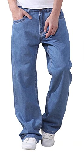 EMAOR Mens Big and Tall Denim Pants Straight Leg Jeans Plus Size by EMAOR Mens