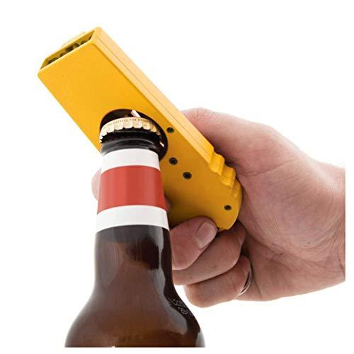 E-SCENERY Novelty Flying Zappa Beer Drink Bottle Opener Cap Launcher, Top Shooter Key Ring (Yellow)