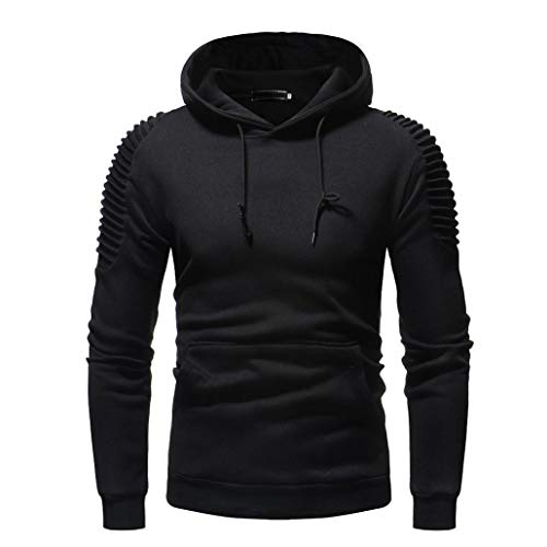 Vicbovo 2018 Hipster Mens Autumn Winter Slim Fit Solid Hoodie Sweatshirt Ruched Long Sleeve Pullover Tops with Pocket (Black, XL) by Vicbovo (Image #3)