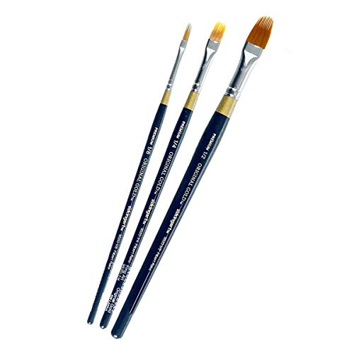 - KINGART B-021 3 PC. Original Gold Filbert RAKE Brush Art Set, Assorted 3 Piece