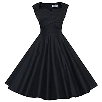 Maggie Tang 50s 60s Vintage Retro Swing Rockabilly Picnic Party Dress Black S