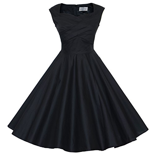 Maggie Tang 50s 60s Vintage Retro Swing Rockabilly Picnic Party Dress Black M