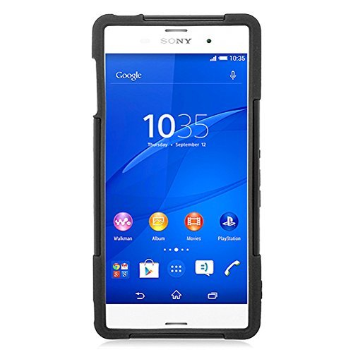 Eagle Cell Hybrid Protective Skin Case Cover with Stand for Sony Xperia Z3 - Retail Packaging - Black/Black