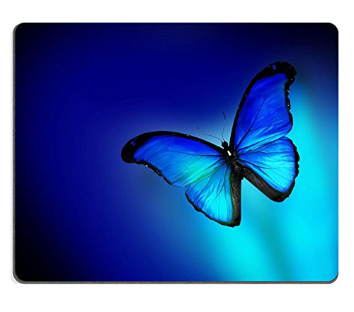 MSD Natural Rubber Mousepad IMAGE ID 33249860 Blue butterfly on dark blue background - Neon Blue Mouse Pad