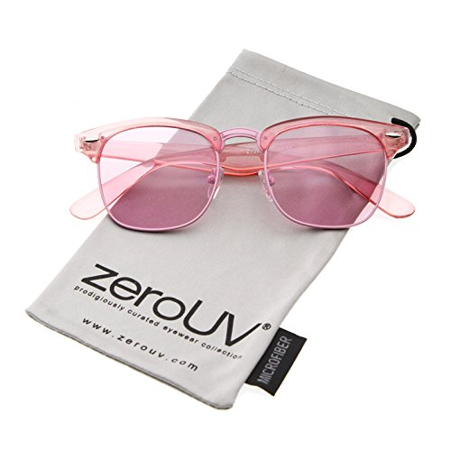 zeroUV - Classic Translucent Horn Rimmed Square Color Tinted Lens Half Frame Sunglasses 49mm (Pink / - Tinted Sunglasses Black