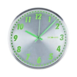 DecoMates Non-Ticking Silent Wall Clock, Aluminum Green