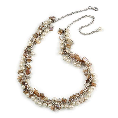 (Avalaya Statement Cream Glass, Antique White Nugget Silver Tone Chain Necklace - 60cm L/ 8cm Ext)