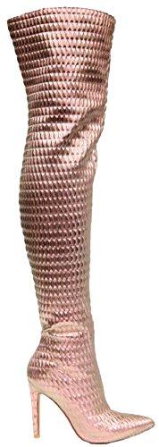 Cape Robbin Gigi-100 Overknee Dij Hoge Naaldhak Wees Puntige Rekbare Laarzen Rose Goud Rose Goud