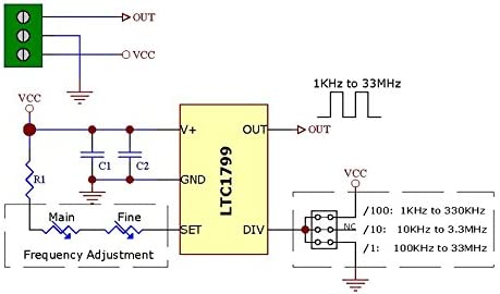 1KHz to 33MHz Adjustable Oscillator Module Board Based on LTC1799