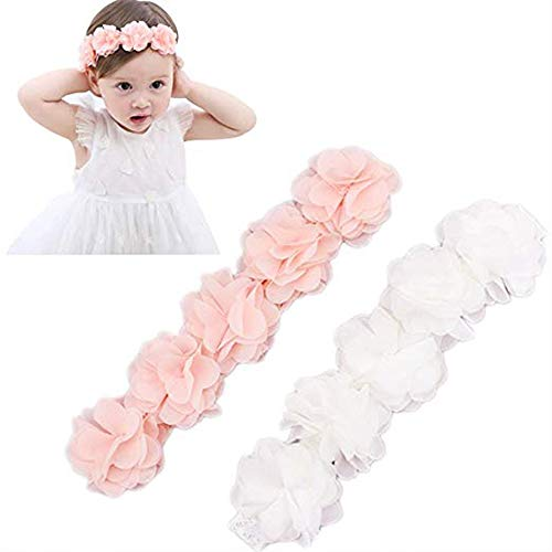 Baby Elastic Chiffon Flower Headbands Princess Girls Hand Sewing Beads Flower Headwear (XW1005 Pink White) -