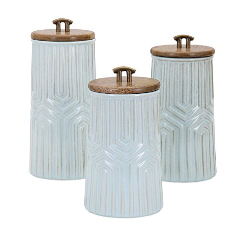 "Set of 3 Decorative Blue Glaze Ceramic Canisters with Brass Handles 11.75"" by Imax"