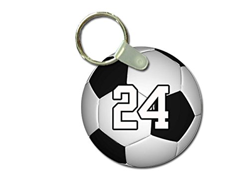 TYD Designs Key Chain Sports Soccer Customizable 2 Inch Metal and Fully Assembled Ring with Any Team Jersey Player Number 24