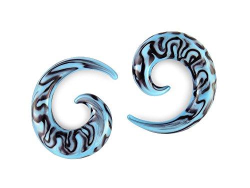 Pair Blacks and Blues Pyrex Glass Spiral 0g 0 gauge 8mm