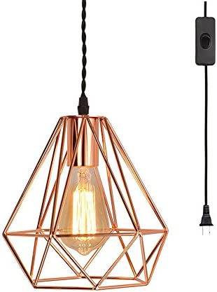 EFINEHOME Vintage Industrial Rose Gold Pyramid Metal Cage Pendant Light with 15 Toggle Switch Black Fabric Plug-in Cord 1-Light Hanging Lamp Loft Rustic Home Decor