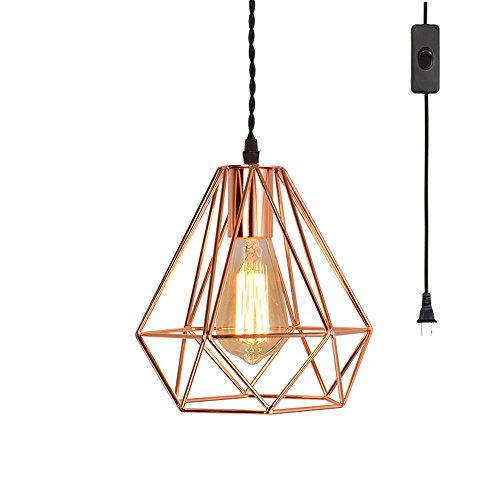 EFINEHOME Vintage Industrial Rose Gold Pyramid Metal Cage Pendant Light with 15' Toggle Switch Black Fabric Plug-in Cord 1-Light Hanging Lamp Loft Rustic Home Decor by EFINEHOME