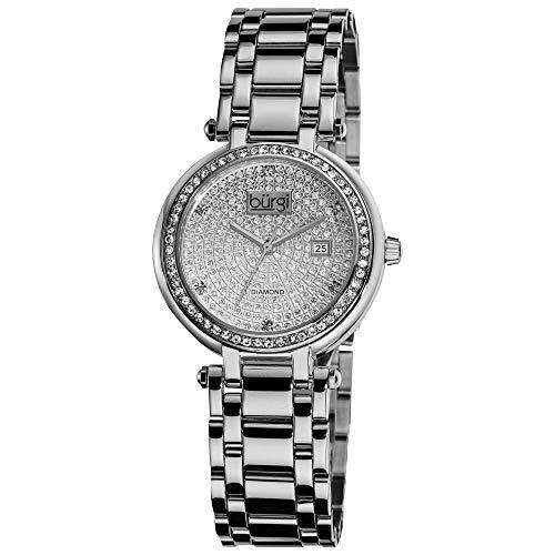 Burgi Women s BUR078SS Stainless Steel Pave Pattern Diamond Bracelet Watch