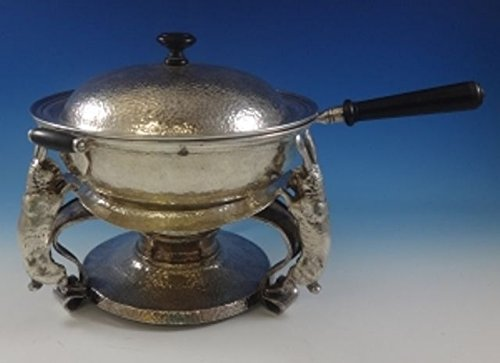 Antique Copper Chafing Dish - Joseph Heinrichs Silver and Copper Chafing Dish Hammered w/3-D Rabbits (#0746)