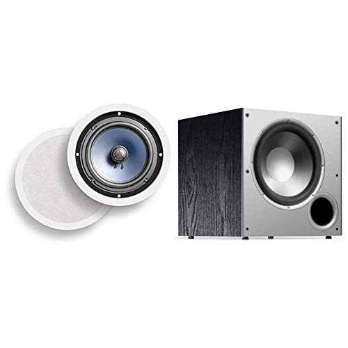 Polk Audio RC80i 2-way Premium In-Ceiling 8″ Round Speakers (White, Paintable Grille) & Audio PSW10 10″ Powered Subwoofer – Featuring High Current Amp and Low-Pass Filter | Up to 100 Watts