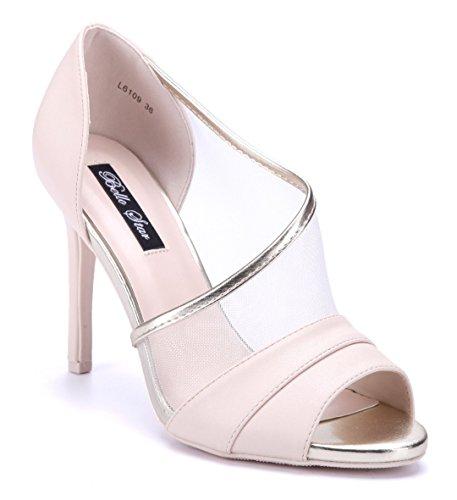1ffc1a035fdd4a Schuhtempel24 Damen Schuhe Peeptoes Pumps Stiletto 10 cm High Heels Beige