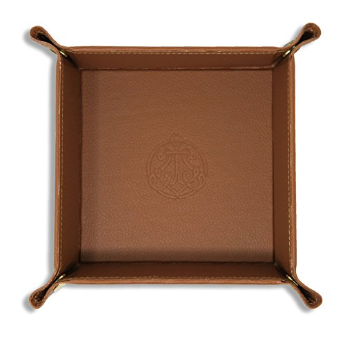 SIVEL + SHARP Leather Valet Tray - Embossed Catchall Tray with Brass Snaps (Almond)