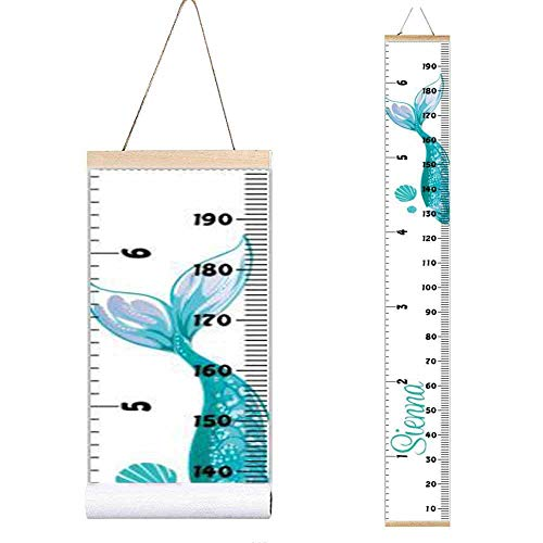 (Miaro Kids Growth Chart, Wood Frame Fabric Canvas Height Measurement Ruler from Baby to Adult for Child's Room Decoration 7.9 x 79in (7.9 x 79in, Green Mermaid))