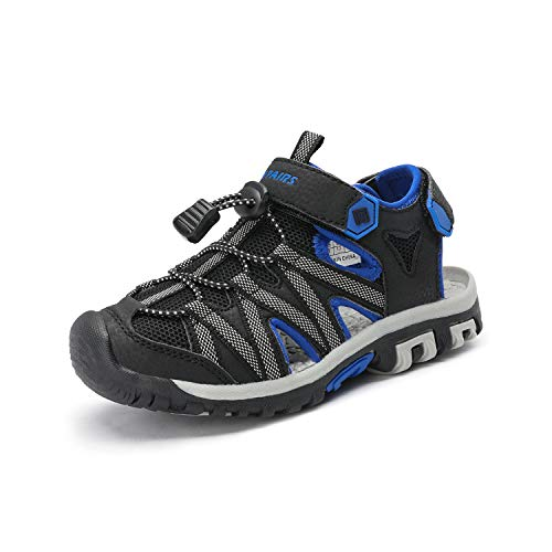 DREAM PAIRS Boys Girls 181108K Black Grey Blue Closed-Toe Outdoor Summer Sandals Size 3 M US Little Kid ()