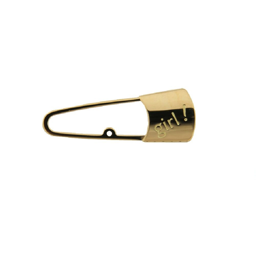 18K Yellow Gold Safety Pin with center ring and the word Girl !