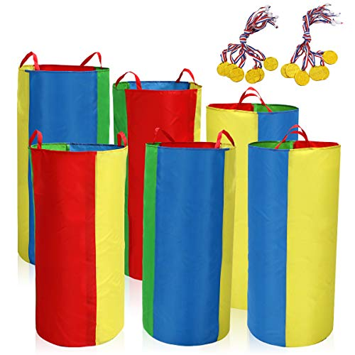 Potato Sack Race Bags (Pack of 6) with Game Prizes (12Pcs) for Kids and Adults, Made from Sturdy and Durable Fabric]()