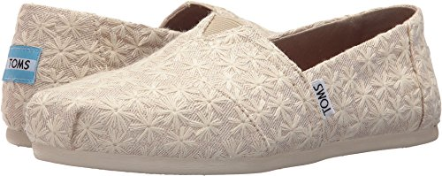 TOMS Womens Classics Natural Daisy Metallic Slip On Shoes (8 B US)