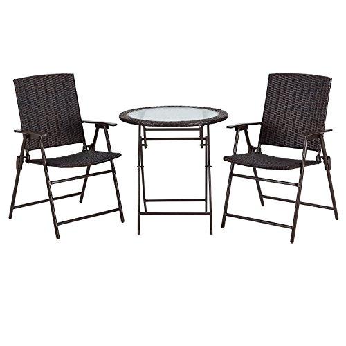 Rimba Outdoors 3Pcs Wicker Folding Bistro Set, 2 Armed Wicker Chair+ 1 Glass Top Folding Table, Garden Backyard Furniture