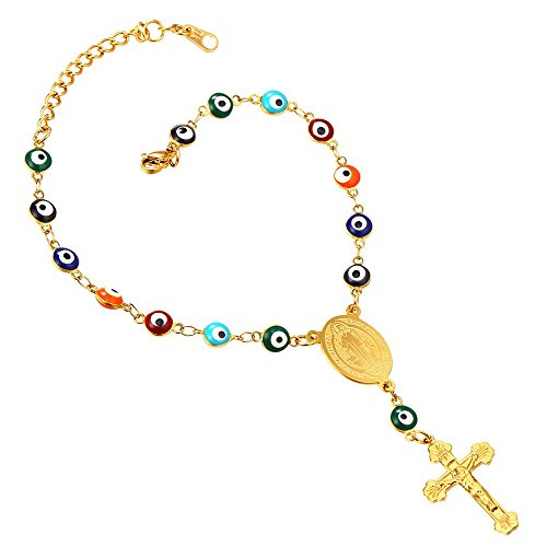 U7 Turkish Evil Eye Bracelet 18K Gold Plated Chain St Benedict Medal and Crucifix Cross Rosary Bracelet -