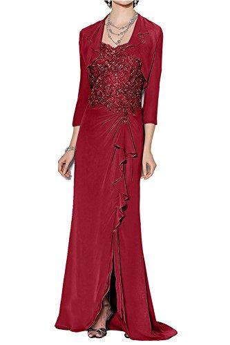 Dunkel Braut Ballkleider Rot Rot mit Glamour La Langes Spitze Brautmutterkleider Dunkel Bolero Langarm Abendkleider Marie aOHSwS
