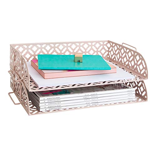(Blu Monaco Pink Desk Organizer Stackable Paper Tray Set of 2 - Metal Two Tier Tray - Stackable Letter Tray - Inbox Tray for Desk)