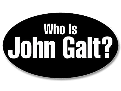 Oval who is john galt sticker libertarian rand atlas shrugged bumper