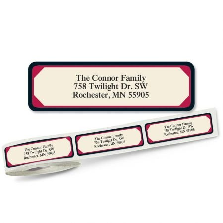3/4 Clear Address Labels - Red & Black Frame Designer Rolled Return Address Labels Roll of 250 - 2 1/2