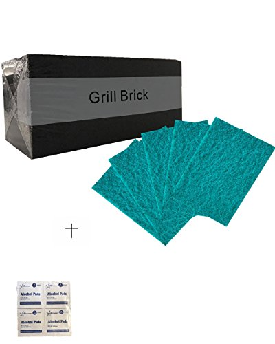 1 Pack-Grill Cleaning Brick,Grilling Stone Cleaner -and- 5 PCS Heavy Duty Green Scouring Pads, Cleaning, Removes Encrusted Greases /w Starryshine Alcohol Pads