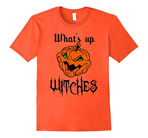 Mens What's Up Witches Tee Funny Pumpkin Head Halloween Costume Large (Large Head Halloween Costume)