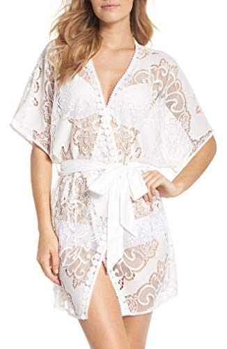 Flora Nikrooz Womens Millie Lace Robe (Ivory, Small) (Ivory, Small) ()