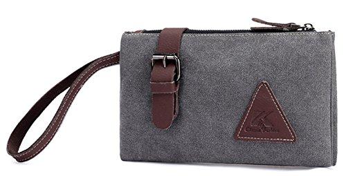 Genbagbar Mens Canvas Wristlet Bag Clutch Wallet Purse Handbag Organizer Business Checkbook (Grey) by Genbagbar